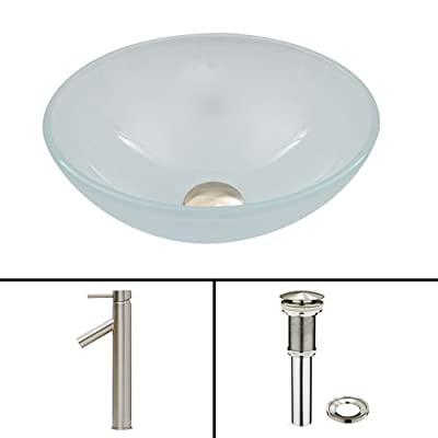 VIGO White Frost Glass Vessel Bathroom Sink and Dior Vessel Faucet with Pop Up, Brushed Nickel