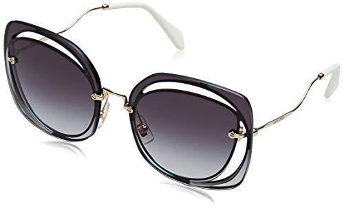 Miu Miu Women's Cutout Square Sunglasses, Blue/Grey, One Size ()