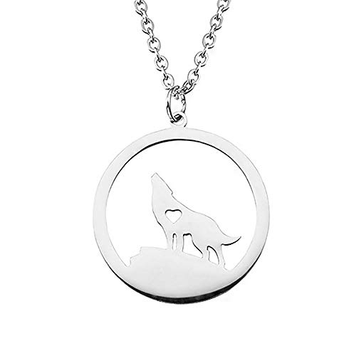 Boormanie Wolf Necklace for Women Stainless Steel,Sterling Silver Plated Dog Wolf Amulet Pendant Necklace