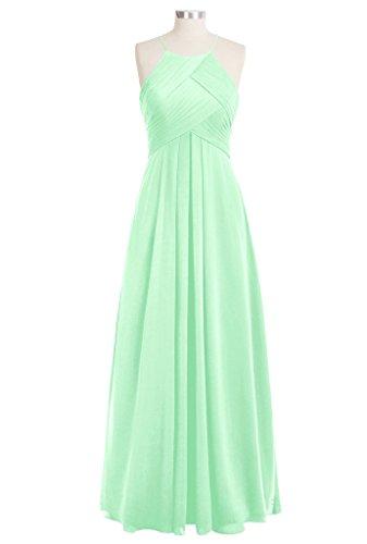 CuteShe Dresses Women's Halter Mint Chiffon Long Bridesmaid p8BgqS