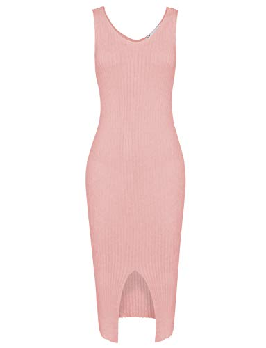 (TAM WARE Womens Elegant Front Slit Sleeveless Knit Bodycon Midi Dress TWCWD120-PEACH-US XL)