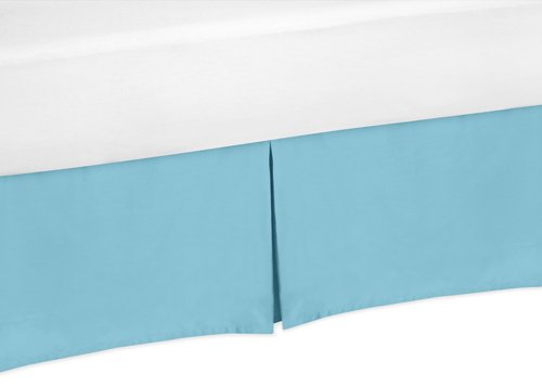 Turquoise Toddler Bed Skirt for Turquoise and White Chevron Kids Childrens Bedding Sets by Sweet Jojo Designs by Sweet Jojo Designs