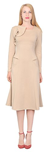 Marycrafts Womens Elegant A Line Midi Dress Evening Cocktail Dresses 14 Beige