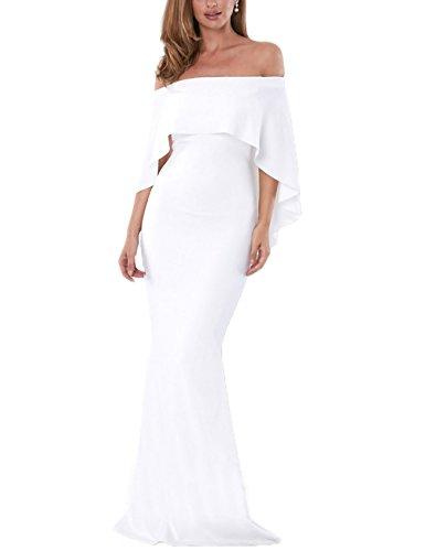 Lrud One Elegante Prom Sin Cinturón Mujeres Maxi Off Shoulder Vestidos 3 Noche White rrwYHqtd