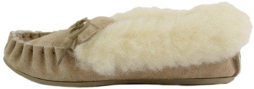 SNUGRUGS - Mocassini slipper in camoscio, da donna, con rivestimento interno e parte superiore in lana e suola in gomma Fabbricato nel Regno Unito. Misure disponibili: da 35,5 a 43,5