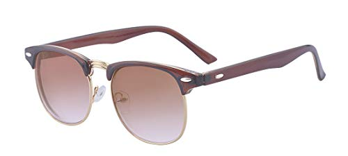 (Kelens Nearsighted Shortsighted Myopia Sunglasses Glasses Half-framed for Men and Women (Brown,)
