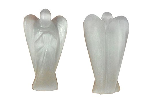 e Angel Gemstone Healing Crystal Moonglow Guidance Cleanse Recharge Crystals Healing Handmade Carving Figurine 50mm with Free Pouch (Moonglow Stone)