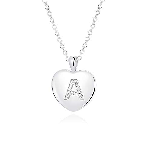 MANVEN A Initial Heart Letter Necklace Silver for Girlfriend Girls Women Teens Stainless Steel Pendant Necklace Bridesmaid Wedding Gifts Alphabet Jewelry