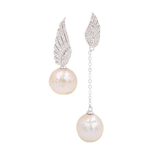 - E102Z-Baroque Pearl Silver Diamond Angel Wings Earrings Birthday Gift Designer Jewelry