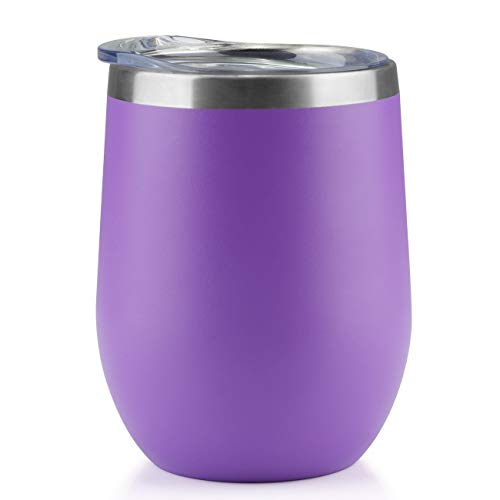 (ONEB Stainless Steel Wine Tumbler with Lid, 12 OZ | Double Wall Vacuum Insulated Travel Tumbler Cup for Coffee, Wine, Cocktails, Ice Cream Cup With Lid... (purple, 12OZ-1pack))
