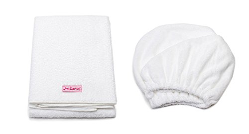Mimi's Diva Darling by Aquis 19x39 Inch White Microfiber Hair Towel and Patented Design White Microfiber Hair Turban
