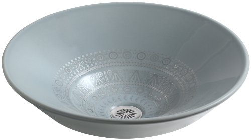 KOHLER K-14223-SR1-K7 Caravan Collection Nepal on Conical Bell Vessel Bathroom Sink, Translucent Blue (Conical Bell)