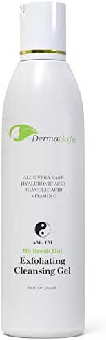 Exfoliating Face Wash – Glycolic Acid Facial Cleanser Scrub With Hyaluronic Acid, Witch Hazel and Vitamin C – Best Value - Huge 8.6 oz.