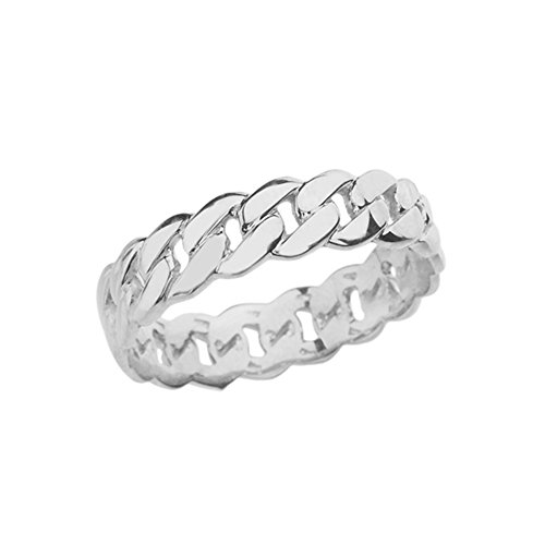 Celtic Rings Sterling Silver Gracious 5 mm Cuban Link Chain Eternity Band Ring (Size 7)