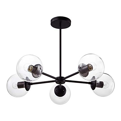 Light Society Grammercy 5-Light Chandelier Pendant, Black with Clear Glass Globes, Classic Mid Century Modern Lighting Fixture (LS-C228-BK-CL)