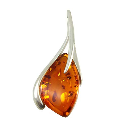 HolidayGiftShops Sterling Silver and Baltic Honey Amber Pendant Madison