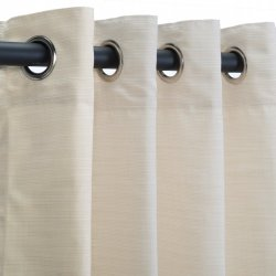 Sunbrella Outdoor Curtain Panel with Nickel Grommet Top for Your Patio, Porch, Gazebo, Pergola or Breezway - Dupione Pearl, 50 X 84 Inch by Webs Best Stores