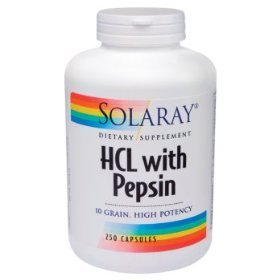 Solaray Suractivé HCl avec de la pepsine - 250 Capsules