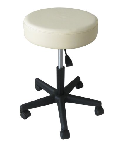 Sivan Health and Fitness Rolling Adjustable Stool for Massage Table, White