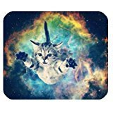 Galaxy Space Cat Mini Design Gaming Mouse Pad Rectangle Mousepad