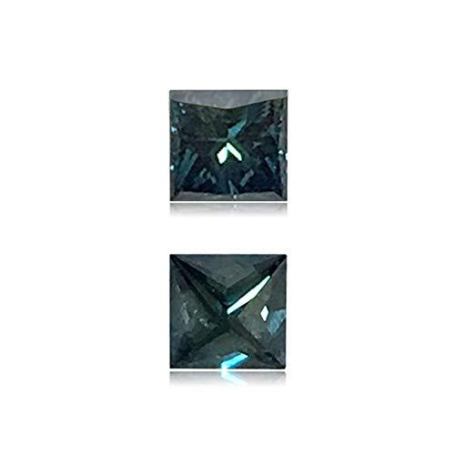Mysticdrop 0.21 Cts of 3.2x3.3x2.5 mm Princess Cut Teal Blue Diamond (1 pc) Loose Color Diamond