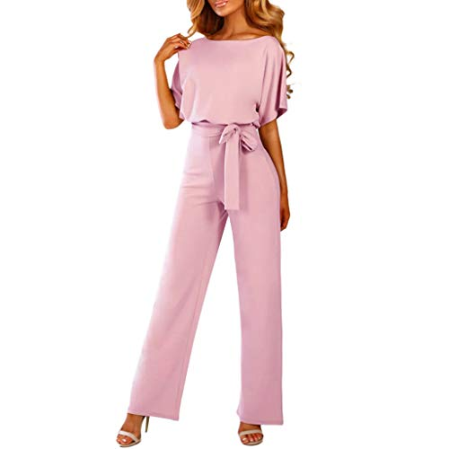 - 【MOHOLL】 Women's Elegant High Waist Short Sleeve Jumpsuit Casual Wide Leg Pants Loose Rompers with Belt Pink
