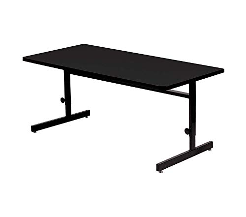 Office Home Furniture Premium 24x48 Adjustable Height Training & Computer Tables, Black Granite High Pressure Laminate, Computer Work Station