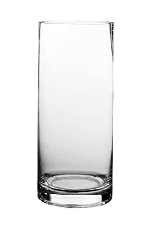 Amazon Cys Cylinder Vase Glass 12 Pack 9 Clear Home Kitchen