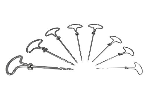 Taytools 467900 French Gimlet 8 Piece Set 2, 2.5, 3, 3.5, 4, 4.5, 5 and 5.5 mm Boring Drill Tool for Pilot Holes Screw Tip Auger Shafts
