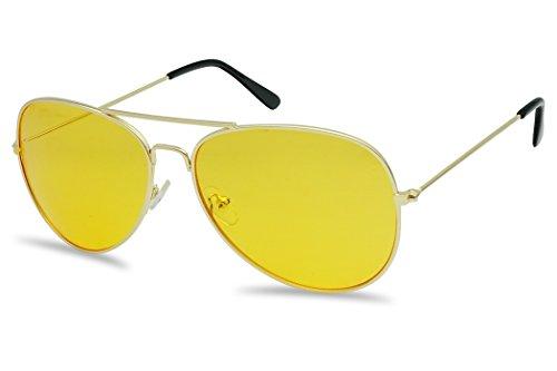 SunglassUP - 80's Retro Round XL Blue Blocking Aviator Bomber Sunglasses (Gold (Aviator), Yellow)