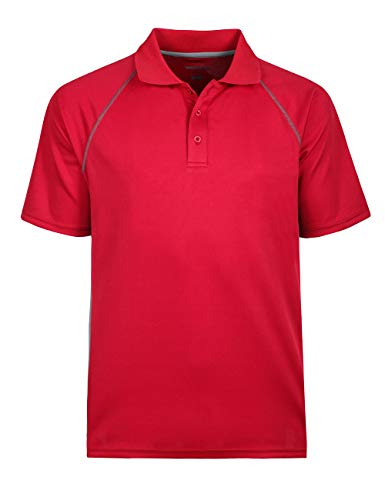 Classic Golf Sport Shirt - Men's Lightweight Active Sports Polo Classic Short Sleeve Tops Red 3XL