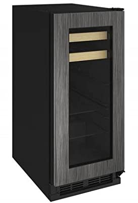 "U-Line U-1215BEVINT-00A 15"" 1000 Series Beverage Center with 3 cu. ft. Capacity Passive Cooling System 2 Glass Shelves 2 Wine Racks and Reversible Door in Panel"