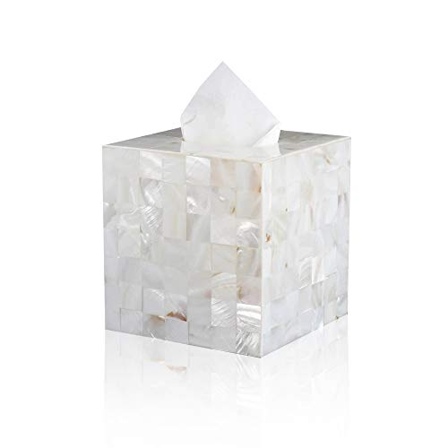 Jung Ford Square Tissue Box Cover Holder, Decorative Facial Napkin Holder for Bathroom Living Room Office (Mother of Pearl)
