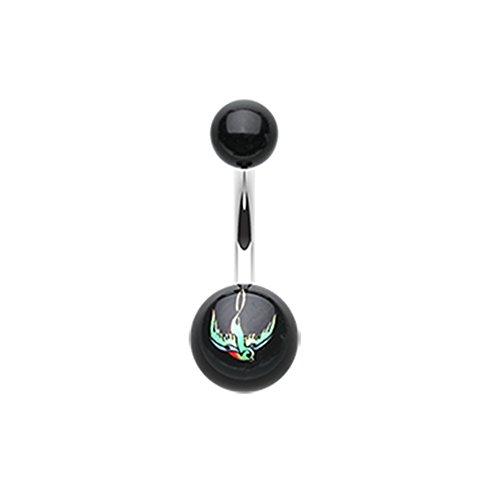 (Inspiration Dezigns 14G Swallow Bird Acrylic Logo Belly Button Ring)