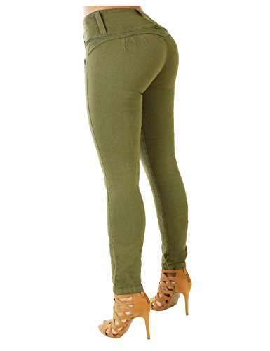Curvify 764 Women's Butt-Lifting Skinny Jeans | High-Rise Waist, Brazilian Style (764, Olive, 15)