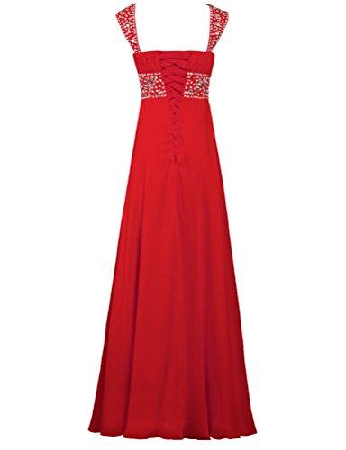 Evening Red Guest Wedding Women's Bead Dresses Sleeve Chiffon Cap ANTS XqznPRaHa