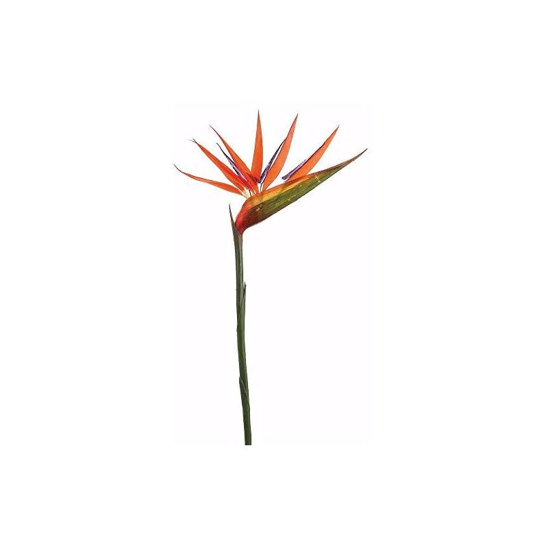 "silk flower arrangements floral home large hard plastic bird of paradise spray - 36"" tall - set of 2"