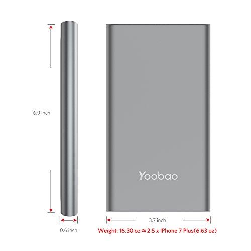 Power Bank 20000mAh, Yoobao High Capacity Powerbank External Battery Pack Cell Phone Charger Battery Backup (Micro & Lightning Input) Compatible iPhone iPad Samsung Galaxy More - Gray by Yoobao (Image #7)