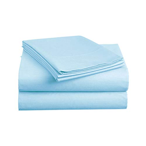 Luxe Bedding Sets - Microfiber King Size Sheets Set 4 Piece, Pillow Cases, Deep Pocket Fitted Sheet, Flat Sheet Set King - Sky Blue