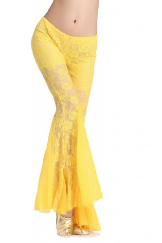 zltdream-womens-belly-dance-lace-fishtail-pants-yellow