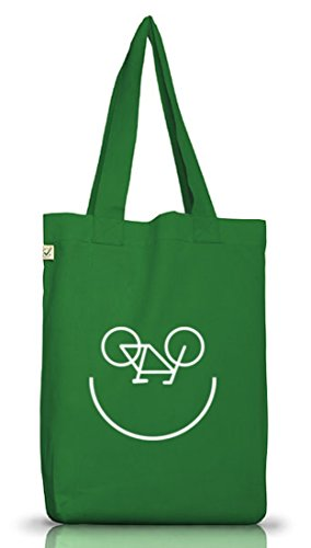 Shirtstreet24, Bike Smiley, Fahrrad Rennrad Jutebeutel Stoff Tasche Earth Positive (ONE SIZE) Moss Green