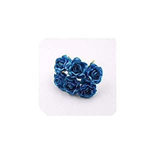 6pcs 3cm Silk Rose Artificial Flower Bouquet for Scissors Decorative Wreaths Wedding Decoration Simulation Fake Flower,Blue 26