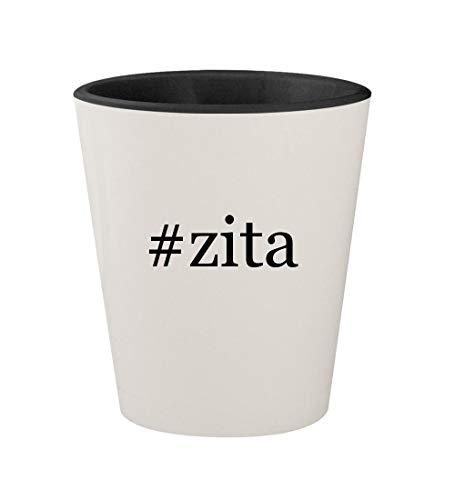 #zita - Ceramic Hashtag White Outer & Black Inner 1.5oz Shot Glass -