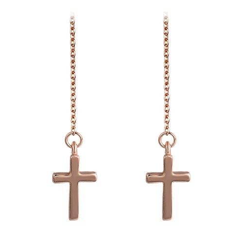 Threader Cross (Yoursfs Cross Earrings for Women18K Rose Gold Plated Long Chain Cross Threader Earrings)