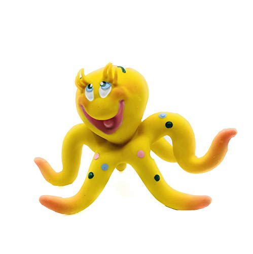 Small Octopus Latex/Rubber Dog Toy. 100% Natural Rubber (Latex). Lead-Free & Chemical-Free. Complies to Same Safety Standards as Children's Toys. Soft & Squeaky. Best Dog Toy for Small Dogs and Pupp