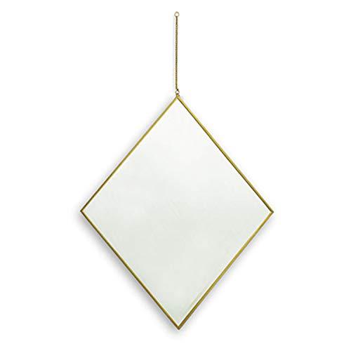 - dwelling Diamond Shape Wall Hanging Mirror with Brass Frame for Hallway Bathroom Wall Decoration