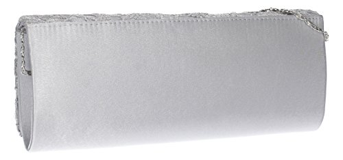 Swankyswans, Kelly, clutch da sera in raso con patella in pizzo Silver