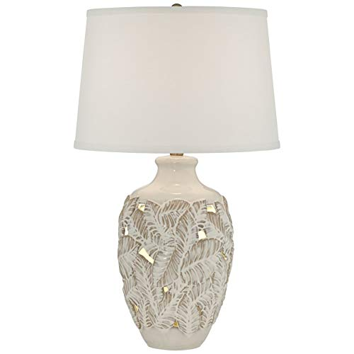 Pacific Coast Lighting 16R41 Palm Bay Leaf Ceramic w/Nightlight Beige Almond 1-Light 150W Table Lamp (Palm Lamps)