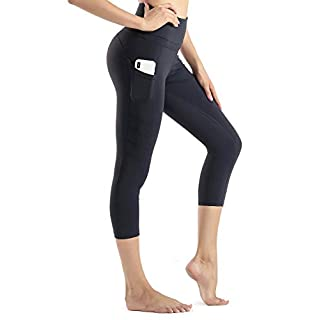 Sunzel High Waist Yoga Capris Tummy Control Workout Running Leggings Out Pocket 4 Way Stretch Yoga Pants -Black (L)