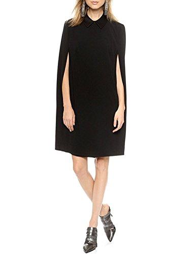 - Haoduoyi Womens Chic Cloak Cape Split Batwing Long Sleeve Mini Shirt Dress(M,Black)